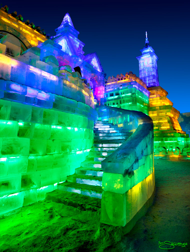 harbin-ice-city-china-yellow-green-blue-stairs-castle-glow-by-nick-saglimbeni-760
